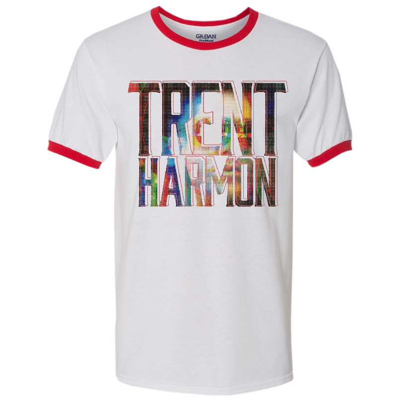 Trent Harmon White and Red Ringer Tee