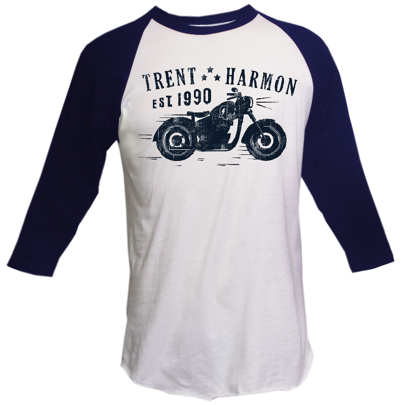 Trent Harmon White and Navy Raglan Tee