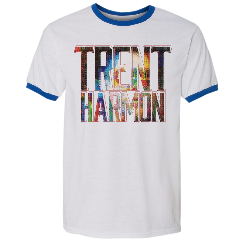 Trent Harmon White and Royal Ringer Tee