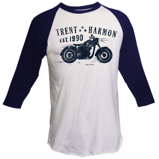 Trent Harmon White and Navy Raglan Tee