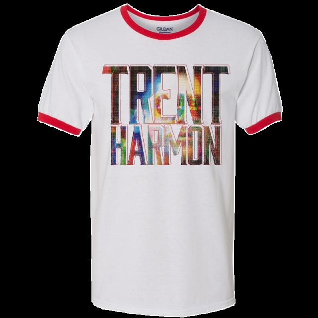 Trent Harmon White and Red Ringer Tee