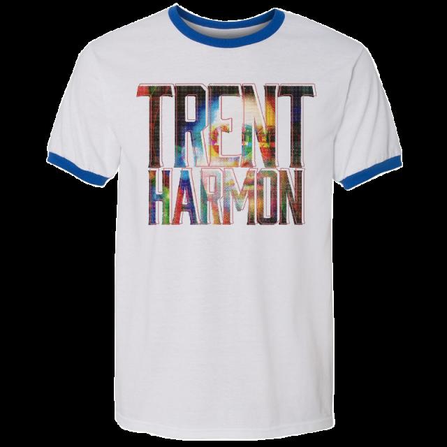 Trent Harmon White and Royal Ringer Tee